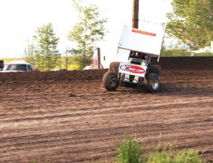 Jon Allard on his way to winning his first career feature at the Souther Oregon Speedway