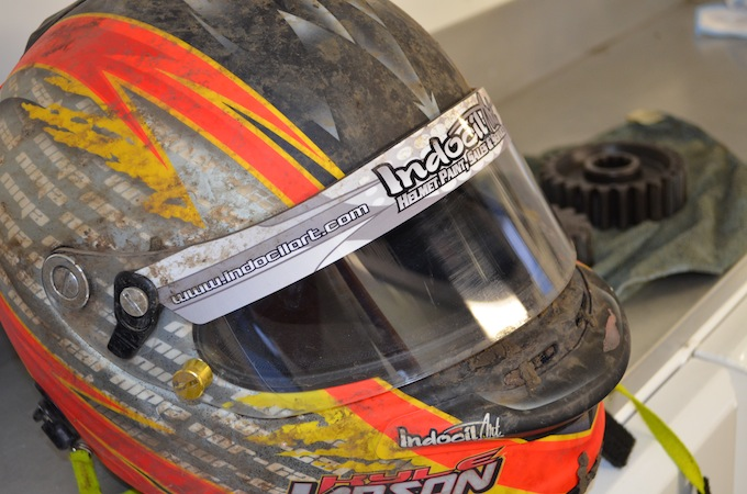 We snuck into Kyle Larson's pit and captured this picture of his helmet.